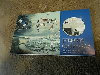 1994 Heroes Of D-Day 50Th Anniversary $5 Commemorative Coin By The Marshall Is
