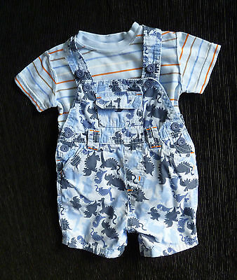 Baby clothes BOY 3-6m dinosaur blue short dungarees/t-shirt 2nd item post-free!