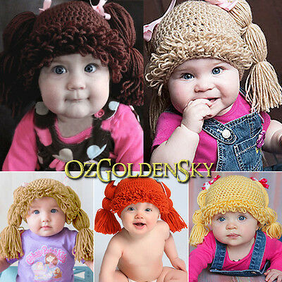 Baby Cabbage Patch Kids Toddler Girls Cotton Beanie Hat Crochet Wig Photo Prop