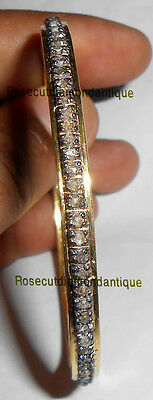 2.12ct ANTIQUE ROSE CUT DIAMOOND STERLING SILVER 925 BEAUTIFUL BANGLE PARTY WEAR
