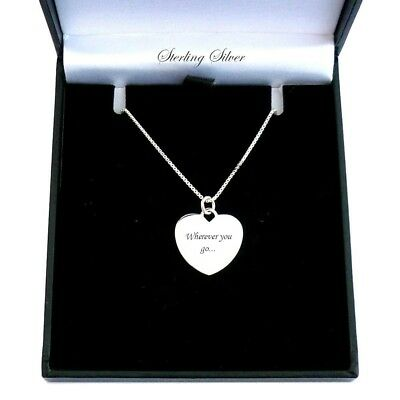Sterling Silver Heart Necklace, Personalised with ANY Engraving. Women or Girls
