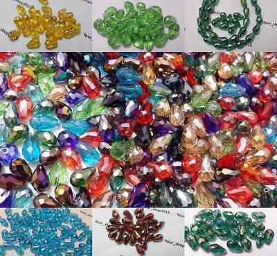 25 Teardrop Briolette Faceted Cut Glass Crystal Beads 10x15mm Jewellery making