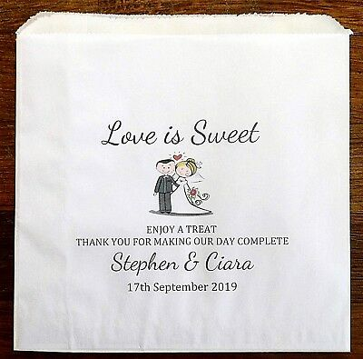 Personalised White Paper Wedding Sweet Favour Bags-Change Hair Colour/Skin tone