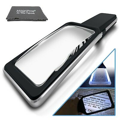 3X Large Handheld Magnifying Glass with 10 Anti-Glare Dimmable LEDs(Evenly Lit)