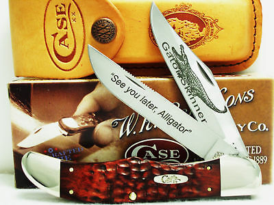 "Case XX ""Gator Skinner""Rosewood Lrg.Folding Hunter 5-1/2""W/Leather Sheath,New."