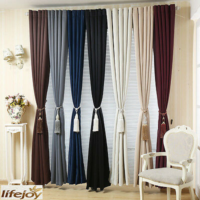 Quality Blockout Room Darkening Non Chemical Coating Eyelet Curtains 230cm drop