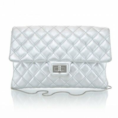 cb49342d439c CHANEL Silver 2.55 Reissue Clutch Quilted Flap Classic Metallic Shoulder Bag