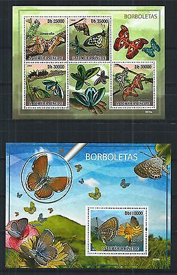 SAO TOME AND PRINCIPE 2009 SHEET BLOCK SET MiNr: 4108 - 12 BUTTERFLIES INSECTS
