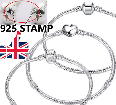 1 - 10 Pcs Sterling SILVER Pl SNAKE CHARM BRACELETS For Girls Beads Stoppers 925