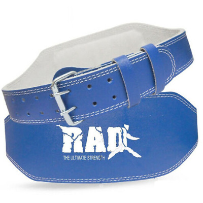 """RAD Blue Leather Belt 4"""" Gym Power Weight Lifting Back Support Body building"""