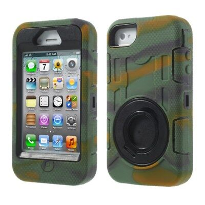 Apple iPhone 4 4S Outdoor Case Silikon Circular Armored Ring Stand Camouflage