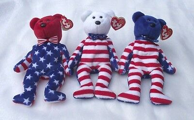 Liberty:set 3 Bears, Red, White & Blue Heads Us Flag Body Ty Beanie Babies Party
