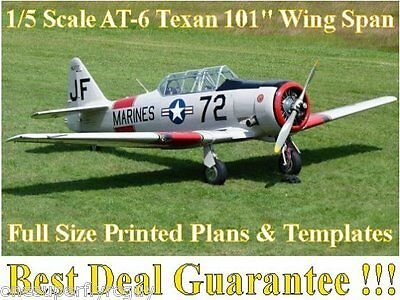 """AT-6 Texan 101"""" WS 1/5 Scale RC Airplane Full Size PRINTED Plans & Templates"""