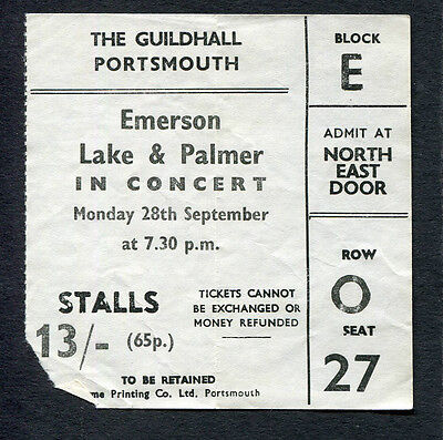 Original 1970 Emerson Lake Palmer concert ticket stub Portsmouth Lucky Man RARE
