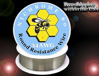 Nichrome 80 34 Gauge AWG Round Wire 250ft Roll, 16.3769 Ohms/ft Resistance