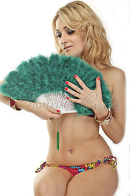 Teal Marabou feather fan costumes Ladies Fancy Dress Wedding party burlesque