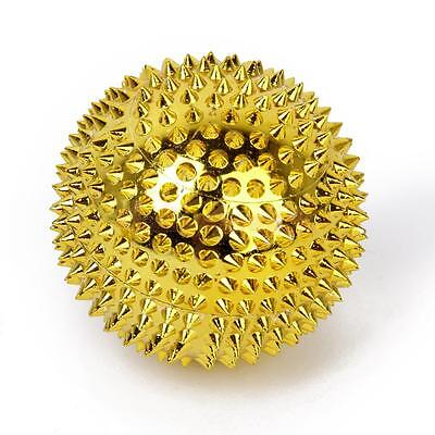 Footful 2pcs Magnetic Palm Spiky Massage Trigger Balls Fitness Relief Gold 56mm