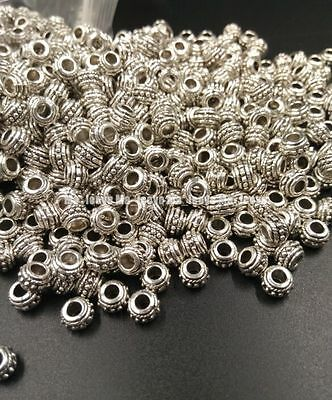 Wholesale 100pcs Tibetan Silver Design Round Spacer Beads jewelry making 5x6MM