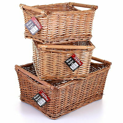 Wicker Storage Basket Set Handles Wooden Log Xmas Gift Hamper Basket Kitchen