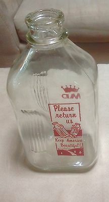 Vintage 1/2 Gallon Glass Milk Bottle: Indented Ribbed Hand Hold