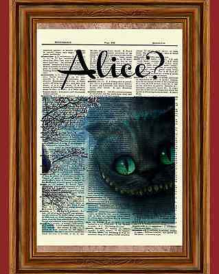 Alice in Wonderland Cheshire Cat Dictionary Art Print Book Page Picture Poster