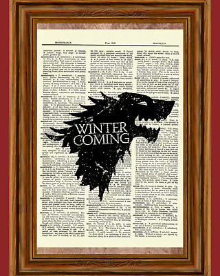 Game of Thrones Dictionary Art Print Poster Picture Winter is Coming Stark