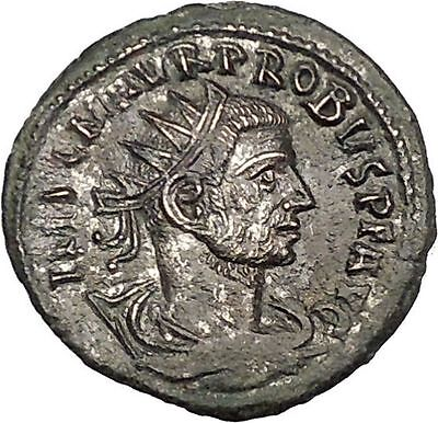 Probus  receiving globe from Jupiter 276AD Tripolis Ancient  Roman Coin i51156