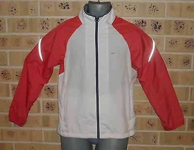 Medium Womens Running Zipped Jacket Polyester Pink / White Pre Owned