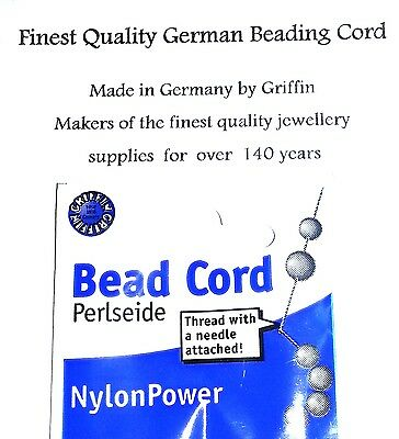 Griffin NylonPower Beading cord 0.45mm No.2 Better than silk thread With needle