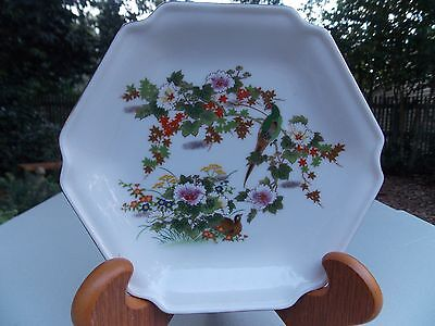 """Vintage Oriental Gold-Gilded Bird and Floral Tray, 7""""x7"""""""