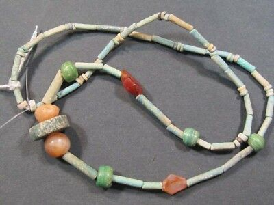 Egyptian Faience, Glass&carnelian Bead Necklace #e8027