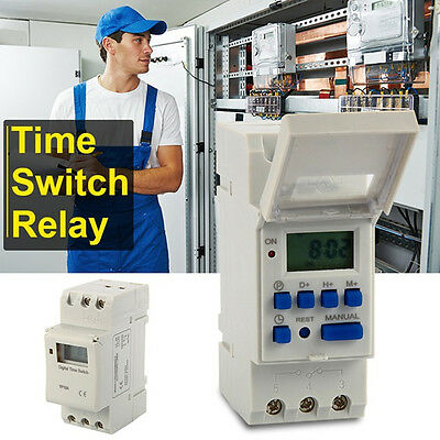 AC 220V 16A DIN Rail Digital Programmable Timer Relay Delay Switch + Manual