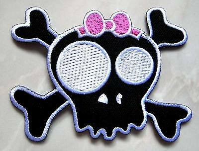 #32 Pink Bow Crossbones Skull Design Embroidered Iron on Patch Free Shipping