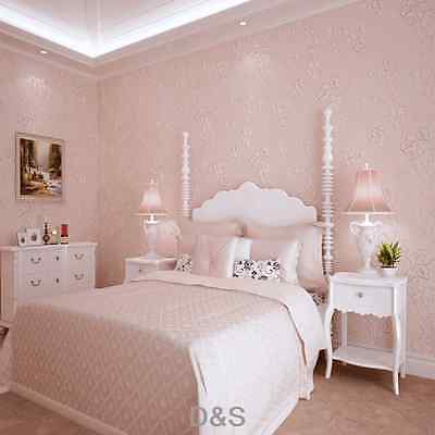 European Style Textured 3D Embossed Florals Non-woven Bedroom Wallpaper Pink