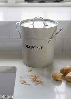 Garden Trading Metal Kitchen Utility Compost Bin With Inner Bucket & Sealed Lid