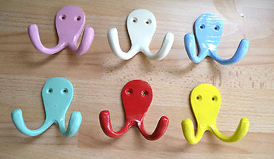 Large Double Wall Hook Coat Hook Childrens Room Playroom Nursery 6 Colours