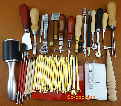 45 Pcs Leather Craft Sewing Stitching Stamping Punch Carving Cutter Tool Set Kit