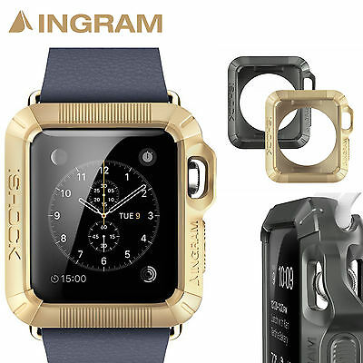 Ingram Apple Watch Case iSHOCK Protective Cover 1+1 Color Set [38mm, Gold+Gray]