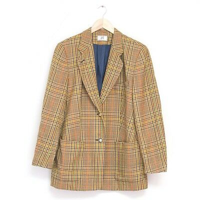 True Vintage 1980s 80s Checked Tweed Country Blazer Jacket Coat Medium UK 12 14