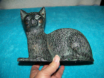 Resin? Cat Figurine Painted to Look Like Aged Bronze Sitting Position Decorative
