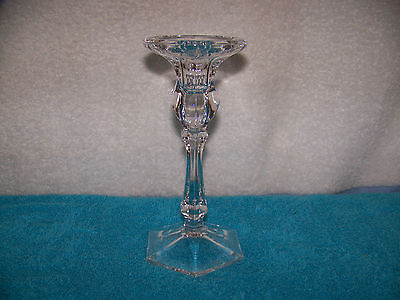 """7"""" High Royal Doulton Pillar Crystal Candle Holder With Etched Doulton Logo"""