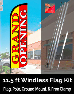 GRAND OPENING (Yellow/Red) Windless Feather Banner Kit (Flag, Pole & Ground Mt)