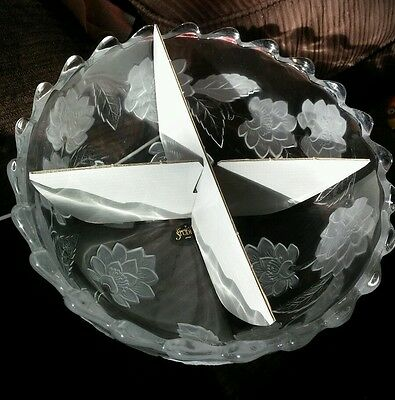 "Crystal Clear Studios ""Chrysanthemum"" Bowl with Etching 10 1/2"" Diameter"