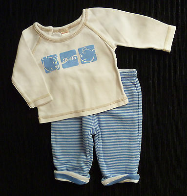Baby clothes BOY 0-3m soft cuffed reversible trousers/Tiny Ted long sleeve top