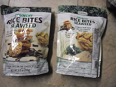 New ! 2 X 9 oz In Season Crunchy Rice Bites Seaweed No Artifical Colors