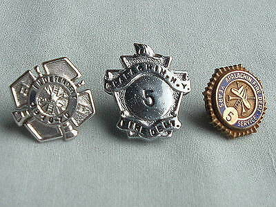 3 ANTIQUE APALACHIN NEW YORK FIRE DEPARTMENT YEARS SERVICE HAT BADGE PIN LOT