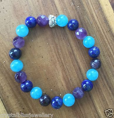 ॐCrystal Blissॐ Unisex Amethyst Chakra Depression Healing Addiction Bracelet