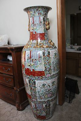Chinese Dynasty Imperial Vases - Set of 2 - Each 5 foot tall!