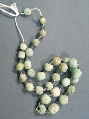 INDUS VALLEY AMAZONITE AND GLASS BEAD NECKLACE #x5143.