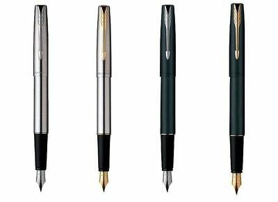 Personalised Engraved Parker Frontier Steel Gold Chrome Trim Ink Fountain Pen